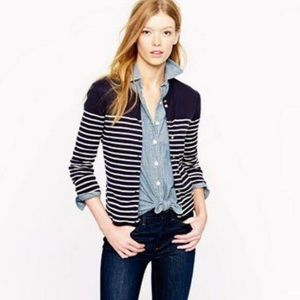 J crew blue and white striped cardigan